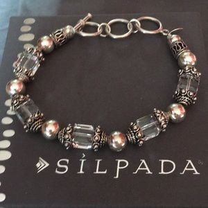 Silpada Swarovski Crystal SS Bracelet Toggle Clasp